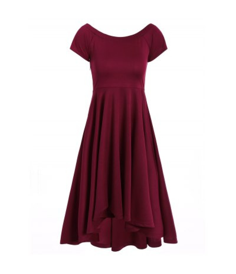 Asymmetric Off-The-Shoulder Semi Formal Swing Dress