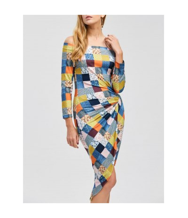 Asymmetrical Color Block Off The Shoulder Dress