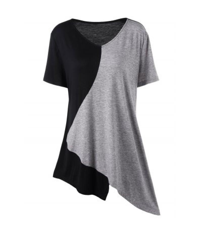 Asymmetrical Color Block Plus Size Long T-Shirt