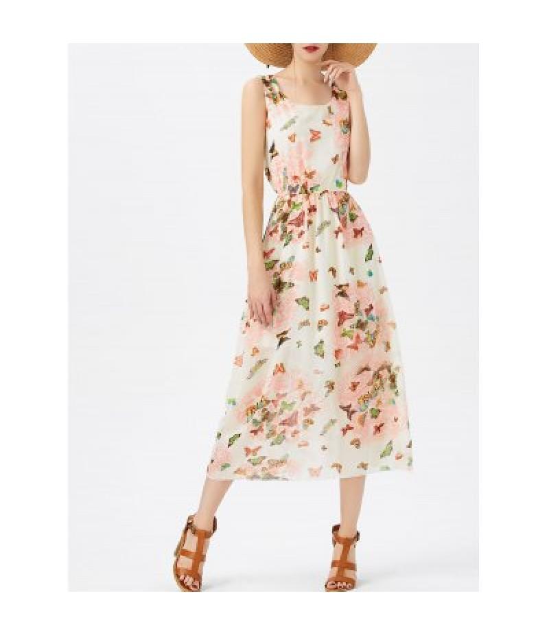 A Line Butterfly Pattern Chiffon Dress