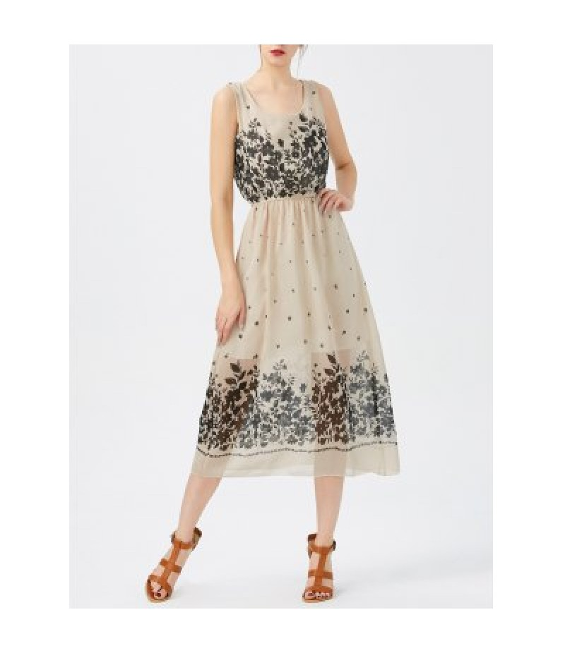 A Line Print Sheer Swing Chiffon Dress