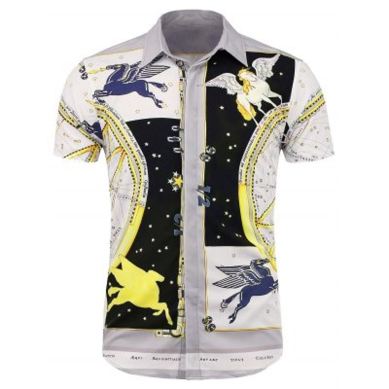 Constellation Pegasus Print Short Sleeve Shirt