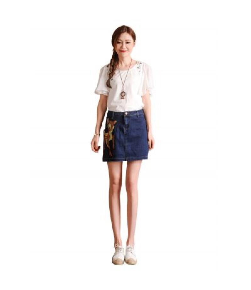 Female Slim Deer Pattern A-shaped Dress Leisure Jeans Skirt
