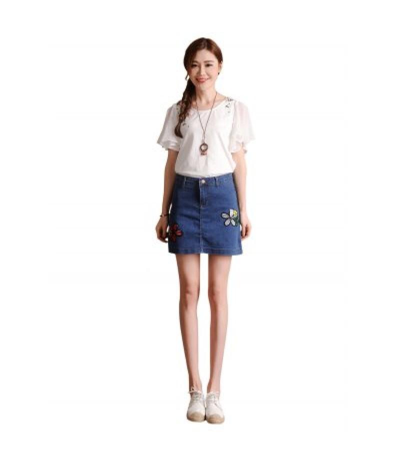 Female Slim Flower Pattern A-shaped Dress Leisure Jeans Skirt