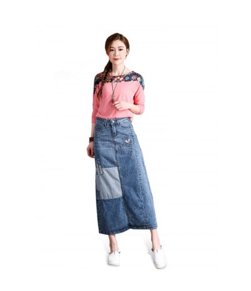 Female Patchwork Pattern Slim Long Dress Leisure Jeans Skirt