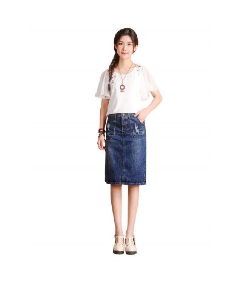 Female Close-fitting Leisure Middle Jeans Skirt with Pocket