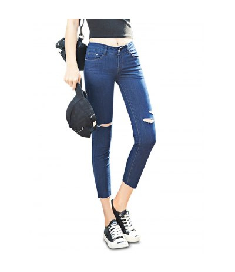 Female Close-fitting Ninth Destroyed Pants Leisure Petite Jeans