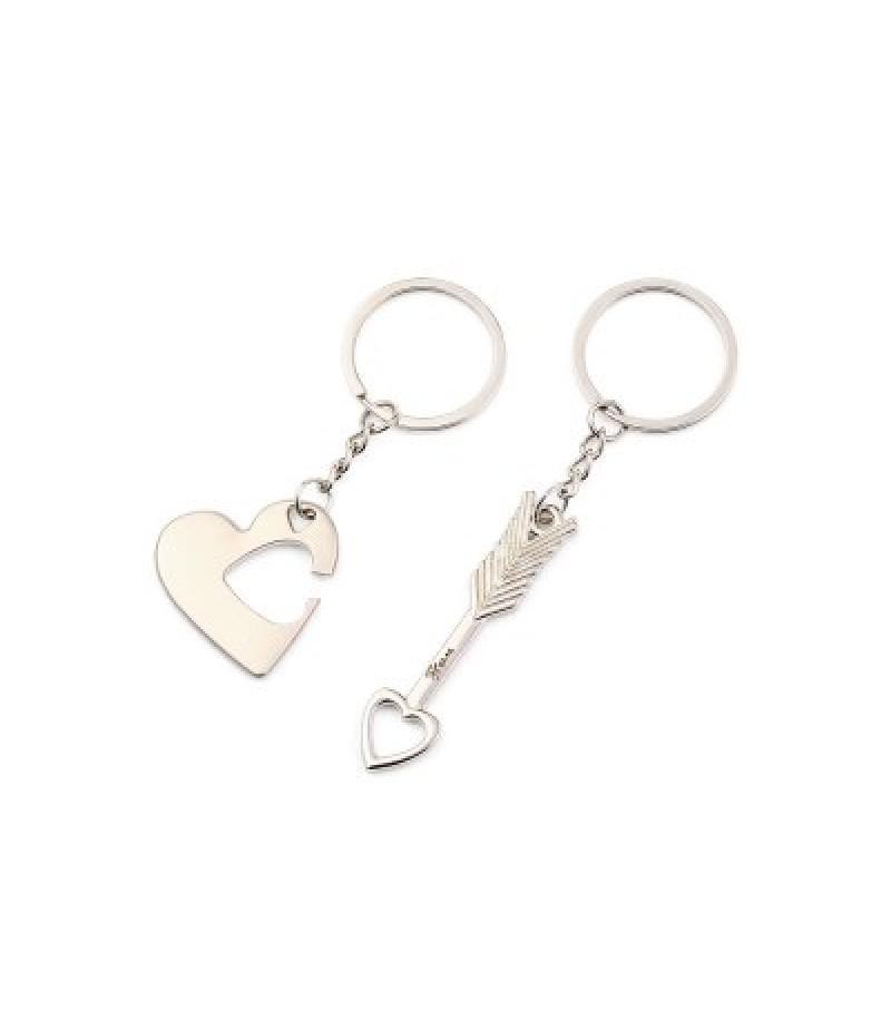 2 in 1 Alloy Arrow Through Heart Key Chain Wallet Decor