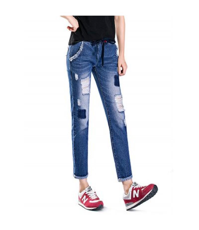 Female Destroyed Ninth Pants Leisure Boyfriend Jeans