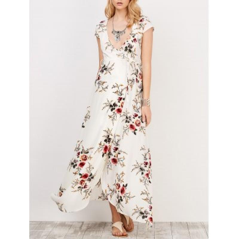 Cap Sleeve Floral Print Maxi Wrap Dress