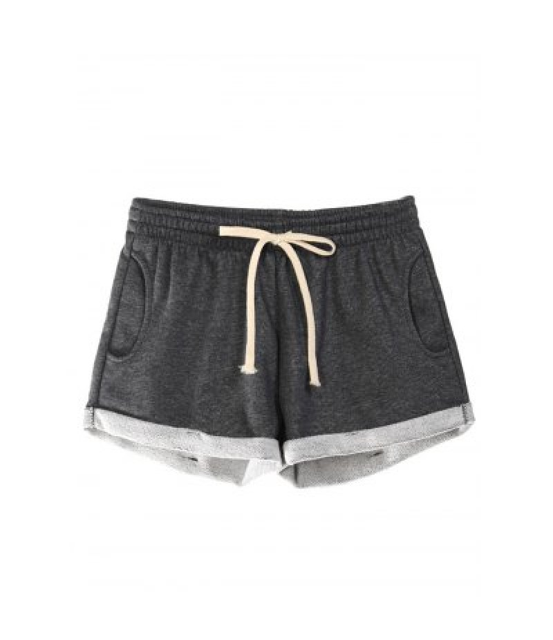 Elastic Waist Pocket Women Cotton Shorts