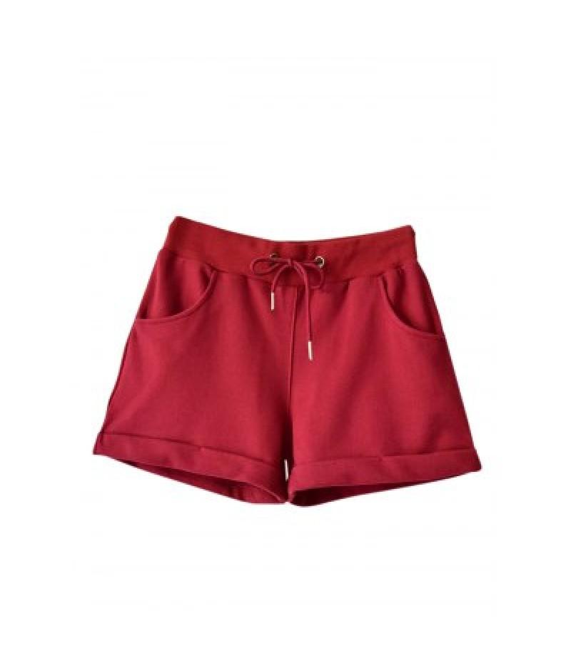 Elastic Waist Pocket Cotton Women Beach Shorts