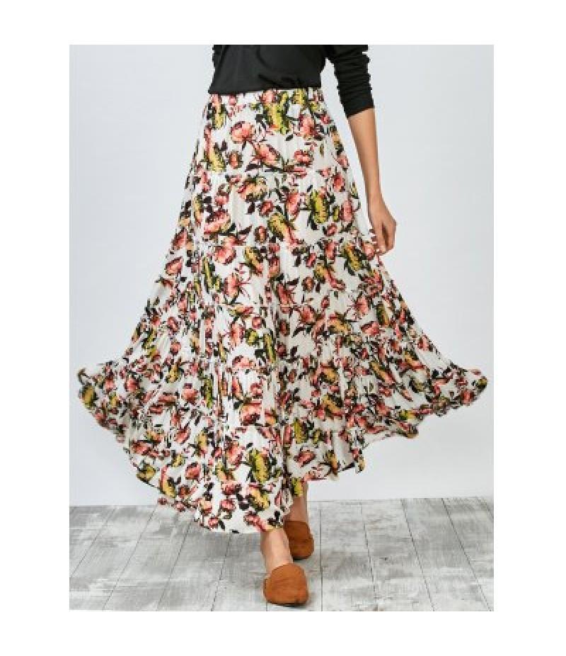 Elastic Bohemian Print Tiered Maxi Skirt