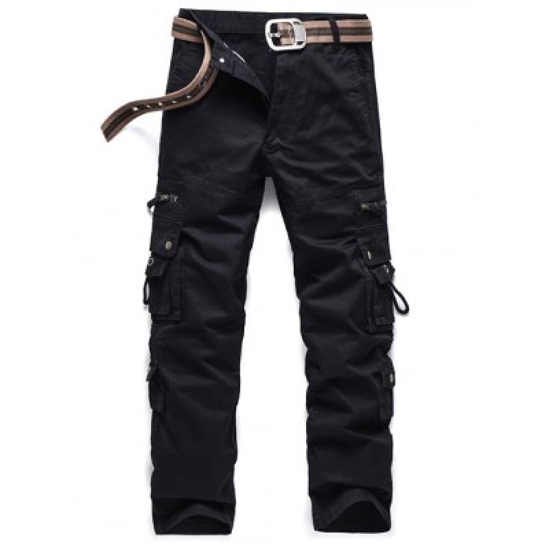 Embroidered Pockets Zipper Embellished Cargo Pants