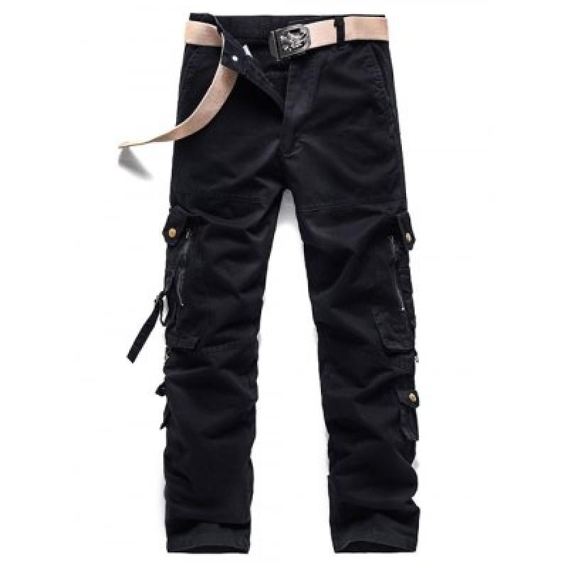Buckle Embellished Zipper Pockets Design Cargo Pants