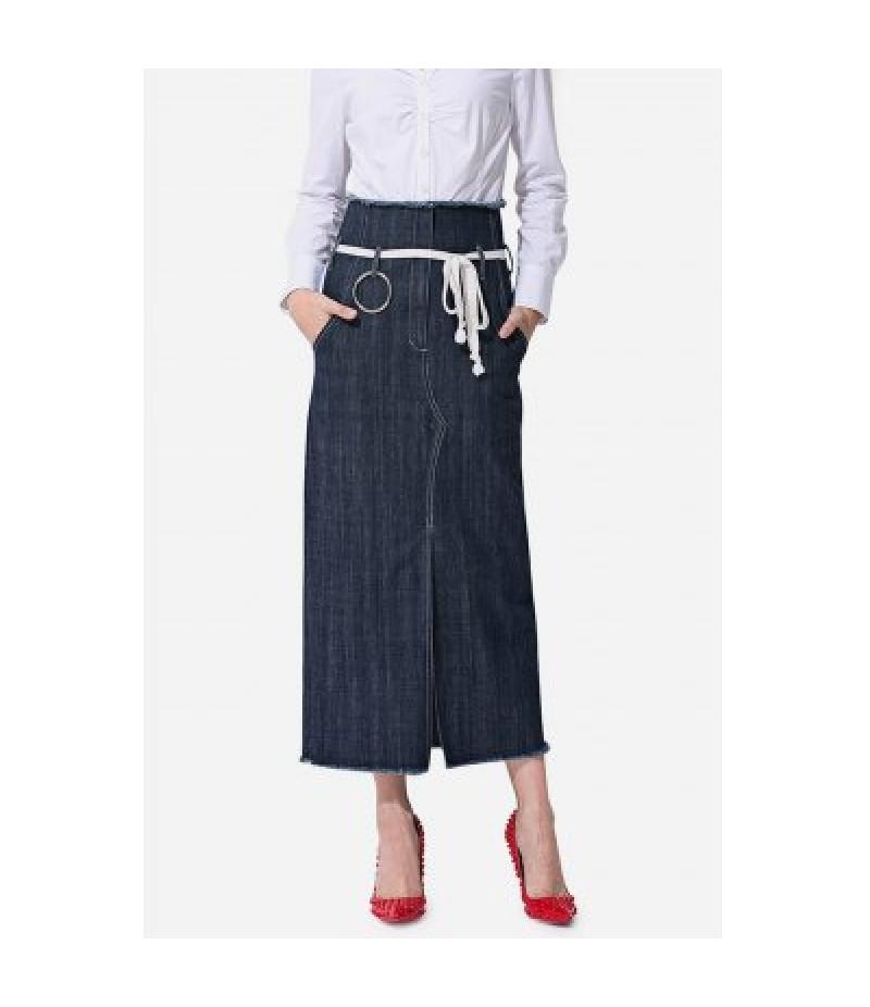 Close-fitting Split Hem Jeans Skirt for Women