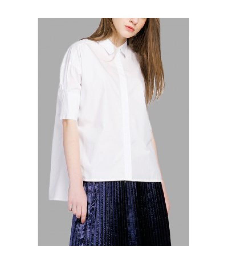 100 Cotton Asymmetric Hem White Blouse