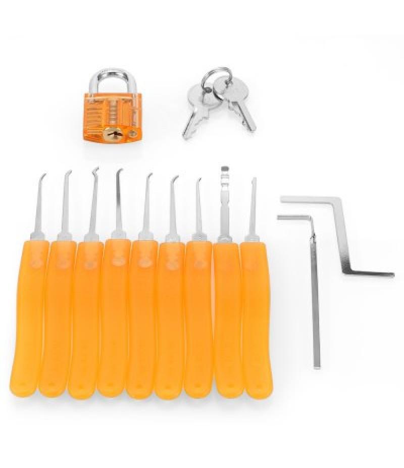 11PCS Stainless Steel Lock Pick tools with Orange Padlock