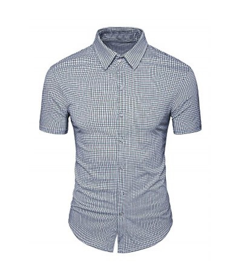 AOWOFS Short Sleeve Men\'s Plaid Shirts