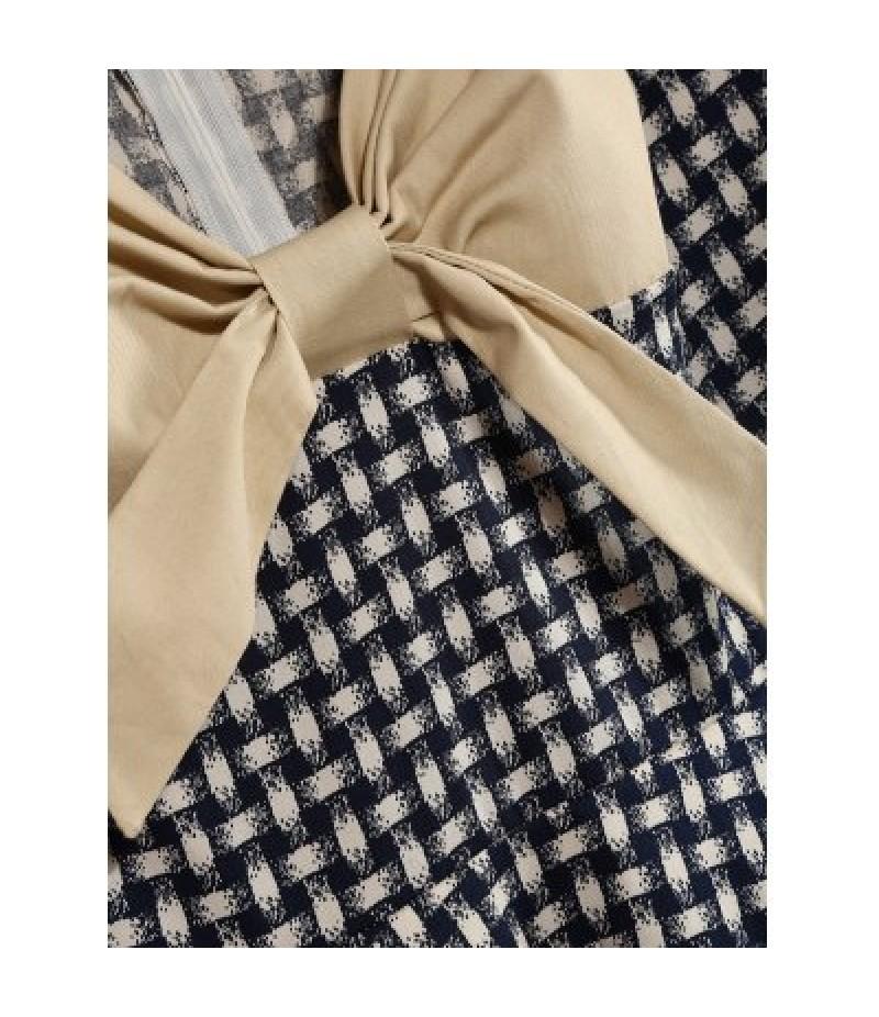 Vintage Plaid Bowknot Design Contrast Panel Dress
