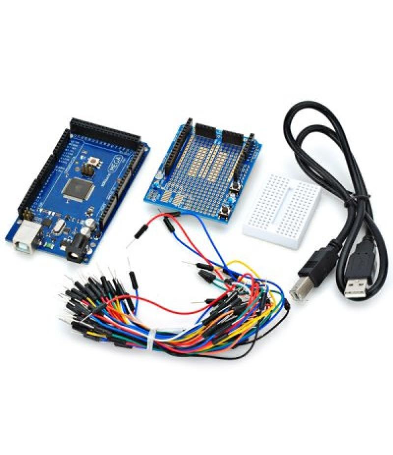 2560 R3 Development Board Kit for Arduino with ProtoShield V3 Expansion Board Bread Board Jumpe